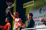 Thomas De Gendt (BEL) Lotto-Soudal wins Stage 8, and also the day's combativity prize presented by triathlete Denis Chevrot, of the 2019 Tour de France running 200km from Macon to Saint-Etienne, France. 13th July 2019.<br /> Picture: ASO/Thomas Maheux   Cyclefile<br /> All photos usage must carry mandatory copyright credit (© Cyclefile   ASO/Thomas Maheux)