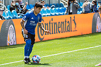 SAN JOSE, CA - APRIL 24: Eduardo Lopez #9 of the San Jose Earthquakes controls the ball during a game between FC Dallas and San Jose Earthquakes at PayPal Park on April 24, 2021 in San Jose, California.