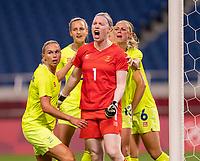 TOKYO, JAPAN - JULY 24: Hedvig Lindahl #1 of Sweden celebrates saving a penalty kick during a game between Australia and Sweden at Saitama Stadium on July 24, 2021 in Tokyo, Japan.