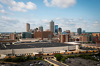 The downtown Indianapolis, Indiana skyline is pictured from the air on Saturday, July 17, 2021. (Photo by James Brosher)