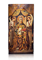 Gothic Catalan altarpiece of Saint Peter enthroned, by Roderic d'Orsona of Valencia, circa 1475, tempera and gold leaf on wood.  National Museum of Catalan Art, Barcelona, Spain, inv no: MNAC 15816. Against a white background.