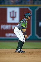 Agustin Ruiz (20) of the Fort Wayne TinCaps takes his lead off of second base against the West Michigan Whitecaps at Parkview Field on August 5, 2019 in Fort Wayne, Indiana. The TinCaps defeated the Whitecaps 9-3. (Brian Westerholt/Four Seam Images)