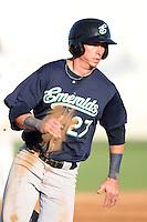 Eugene Emeralds outfielder Lee Orr #27 runs the bases against the Salem-Keizer Valcanoes at Volcanoes Stadium on August 9, 2011 in Salem-Keizer,Oregon. Eugene defeated Salem-Keizer 13-7.(Larry Goren/Four Seam Images)