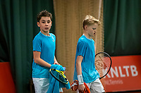 Wateringen, The Netherlands, December 15,  2019, De Rhijenhof , NOJK juniors doubles, final boys 12 years, Thijs Boogaard (NED) Sander Paradis (NED) (R)<br /> Photo: www.tennisimages.com/Henk Koster