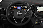 Car pictures of steering wheel view of a 2019 Jeep Cherokee Trailhawk 5 Door SUV