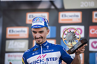 Julian Alaphilippe (FRA/Quick Step Floors) on podium as a winner of the  82nd La Flèche Wallonne 2018<br /> 1 Day Race: Seraing - Huy (198,5km)