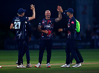 Darren Stevens (C) of Kent is congratulated after taking the wicket of Chris Green during Kent Spitfires vs Middlesex, Vitality Blast T20 Cricket at The Spitfire Ground on 11th June 2021