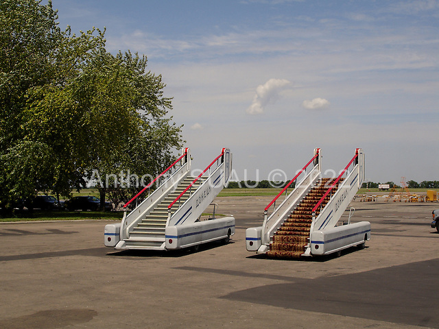 Donets'k, Ukraine.July 15, 2005 ..Presidential stairs at the airport in southeastern Ukraine for the President Victor Yuschenko who is to arrive for and official city visit.