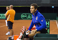 September 08, 2014,Netherlands, Amsterdam, Ziggo Dome, Davis Cup Netherlands-Croatia, Training Dutch Cup Team, jean-julien Rojer warming up<br /> Photo: Tennisimages/Henk Koster