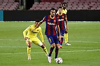 27th September 2020; Camp Nou, Barcelona, Catalonia, Spain; La Liga Football, Barcelona versus Villareal;  Sergio Busquets of Barca holds off the challenge from Coquelin of Villareal