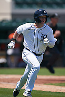 Detroit Tigers Daniel Cabrera (17) runs to first base during a Minor League Spring Training game against the Baltimore Orioles on April 14, 2021 at Joker Marchant Stadium in Lakeland, Florida.  (Mike Janes/Four Seam Images)