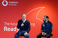 Pictured L-R: Steve Cooper and Leon Britton. Thursday 17 October 2019<br /> Re: Swansea City AFC, City Business Network event at the Liberty Stadium, Wales, UK.