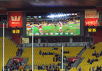 The final scoreboard shows a 82-79 win to the Lions after the ANZAC Day AFL match between St Kilda Saints and Brisbane Lions at Westpac Stadium, Wellington, New Zealand on Friday, 25 April 2014. Photo: Dave Lintott / lintottphoto.co.nz