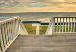 View of Long Island Sound from shorefront deck and staircase.