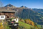 Austria, East-Tyrol, near Matrei in East-Tyrol: 'Strumerhof', mountain restaurant above Tauern Valley with panoramic view | Oesterreich, Osttirol, bei Matrei in Osttirol: der Strumerhof, Bergbauernhof mit Panoramablick oberhalb des Tauerntals
