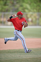 Washington Nationals Austin Davidson (23) throws to first base during practice before a minor league Spring Training game against the St. Louis Cardinals on March 27, 2017 at the Roger Dean Stadium Complex in Jupiter, Florida.  (Mike Janes/Four Seam Images)