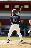 Pete Milevski (11) of the County College of Morris Titans at bat against the SUNY Sullivan Generals on the campus of County College of Morris on April 9, 2013 in Randolph, New Jersey.  The Titans defeated the Generals 12-4.  (Brian Westerholt/Four Seam Images)