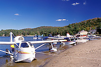 seaplane, Adirondacks, New York, NY, Long Lake, Seaplanes along the beach at Long Lake in the Adirondack Mountains.