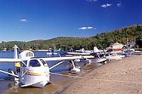 seaplane, Adirondacks, New York, NY, Long Lake, Seaplanes along the beach at Long Lake in the Adirondack Mountains.