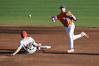 John Tuccillo (45) of the Stony Brook Seawolves is out as shortstop Sam Hall (5) of the Clemson Tigers turns a double play in a game on Friday, February 21, 2020, at Doug Kingsmore Stadium in Clemson, South Carolina. Clemson won, 2-0. (Tom Priddy/Four Seam Images)