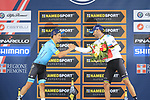 Miguel Angel Lopez (COL) Astana on the podium after finishing in 2nd place congratulated by World Champion Alejandro Valverde (ESP) Movistar Team 3rd place at the end of the 99th edition of Milan-Turin 2018, running 200km from Magenta Milan to Superga Basilica Turin, Italy. 10th October 2018.<br /> Picture: Eoin Clarke | Cyclefile<br /> <br /> <br /> All photos usage must carry mandatory copyright credit (© Cyclefile | Eoin Clarke)
