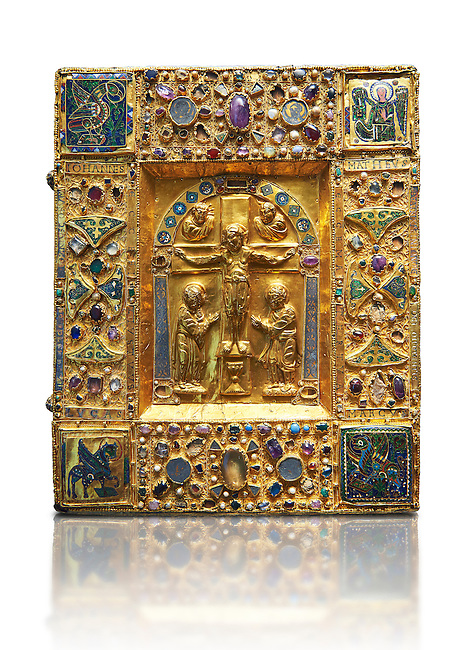 """Medieval gilded manuscript cover depicting the Crucifixion. 11th century from the treasury of the Cathedral of Maastricht. AD.  <br /> This gilded with relief panel with inlaid stones was originally a manuscript cover. Since 1677, it contained the 'documents of the oath of the Dukes of Brabant'. The back of the panel is covered with precious fabrics. On the front, in the central part, is depicted a crucifixion the style of which is reminiscent of the works of the goldsmiths of the Emperor Henry II. On the borders are small icons and emblems including those of the Carolingians. The main interest of this work lies in the four enamelled on gold symbols of the evangelists in the four corners, two being 'Enforced' on a background of gold, the others being painted.<br /> <br /> One of Latin inscriptions states that 'Beatrice  ordered the execution ( of this work) in honour of Almighty God and his saints"""". It could be Beatrice wife of Hermann II of Swabia and daughter Emperor's sister-Conrad II or, more likely, Beatrice of Tuscany who in 1036 was wife of Boniface III, Marquis of Tuscany, and second wife of Geoffrey the Bearded, Duke of Lower Lorraine and Brabant.<br />  The Louvre Museum, Paris."""