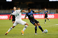 SAN JOSE, CA - SEPTEMBER 16: Marcos Lopez #27 of the San Jose Earthquakes under pressure from Marvin Loria #44 of the Portland Timbers during a game between Portland Timbers and San Jose Earthquakes at Earthquakes Stadium on September 16, 2020 in San Jose, California.