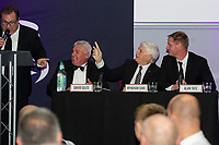 Pictured: David Giles, Wyndham Evans and Alan Tate of Swansea City during the Swansea City Question Of Sport at the Liberty Stadium in Swansea, Wales, UK. Thursday 05 December 2019
