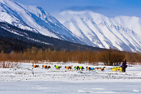 Scott White runs his team out of  the Rohn checkpoint, at the confluence of the Tatina and the South Fork of the Kuskokwim Rivers during the 2010 Iditarod, Interior Alaska