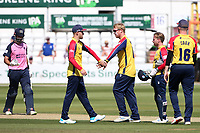 Simon Harmer of Essex celebrates with his team mates after taking the wicket of John Simpson during Essex Eagles vs Middlesex, Vitality Blast T20 Cricket at The Cloudfm County Ground on 18th July 2021