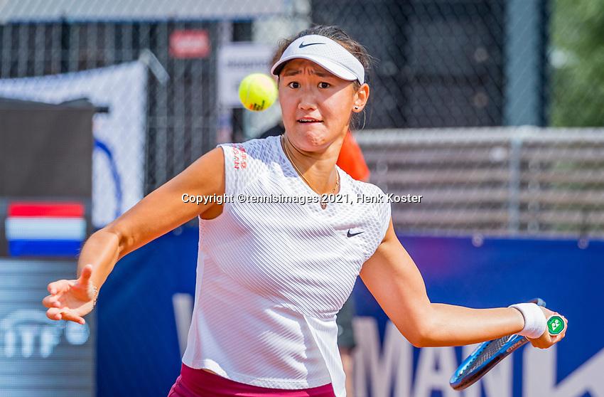 Amstelveen, Netherlands, 7 Juli, 2021, National Tennis Center, NTC, Amstelveen Womans Open, Doubles:  Xiyu Wang (CHN) <br /> Photo: Henk Koster/tennisimages.com