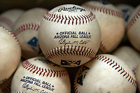 Arizona Fall League baseballs sit in the dugout before a game between the Peoria Javelinas and Salt River Rafters at the Salt River Fields at Talking Stick on October 18, 2012 in Scottsdale, Arizona.  Peoria defeated Salt River 3-1.  (Mike Janes/Four Seam Images via AP Images)