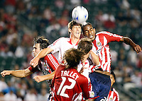 NY Red Bulls defender, Anderw Boyens(27) and Chivas USA forward, Atiba Harris(24) battle in the air for the ball. Chivas USA  took on the NY Red Bulls on June 28, 2008 at the Home Depot Center in Carson, CA. The game ended in a 1-1 tie.