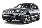 Stock pictures of low aggressive front three quarter view of a 2015 BMW X3 M Sportpakket 5 Door Suv Low Aggressive