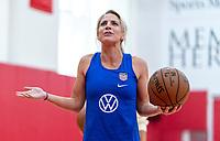 HOUSTON, TX - FEBRUARY 1: Julie Ertz #8 of the United States works on her shot at Houston Rockets Training Center on February 1, 2020 in Houston, Texas.