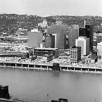 Pittsburgh PA:  View of Pittsburgh's Gateway Center from Mount Washington.  Pittsburgh Press building under construction.