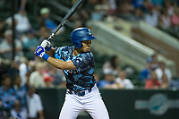 Ogden Raptors designated hitter Marcus Chiu (13) at bat during a Pioneer League game against the Billings Mustangs at Lindquist Field on August 17, 2018 in Ogden, Utah. The Billings Mustangs defeated the Ogden Raptors by a score of 6-3. (Zachary Lucy/Four Seam Images)
