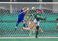 19 October 2013: University of Vermont Catamount Goalkeeper Conor Leland, a Senior from Richmond, VT, in action against the University at Albany Great Danes at Virtue Field in Burlington, Vermont. The Catamounts defeated the visiting Danes 2-1. Mandatory Credit: Ed Wolfstein Photo *** RAW (NEF) Image File Available ***