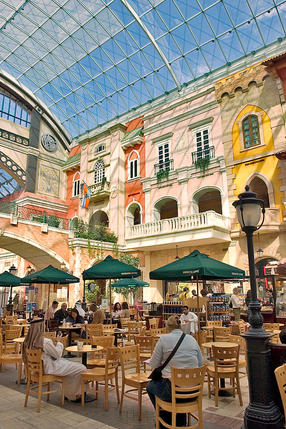 Dubai. United Arab Emirates. Mercato Shopping Mall, interior. Cafe? and shops. Italian style..