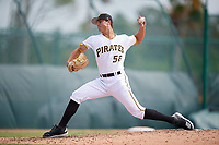 Pittsburgh Pirates pitcher Jake Brentz (56) delivers a pitch during an Instructional League game against the Tampa Bay Rays on October 3, 2017 at Pirate City in Bradenton, Florida.  (Mike Janes/Four Seam Images)