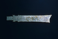 "China: Jade blade. Eritou Culture Period, 1st half 2nd mill. B.C. 19"" length.  Exhibition from People's Republic of China--The Great Bronze Age."