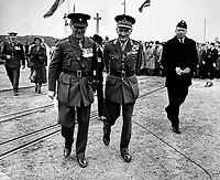 BNPS.co.uk (01202 558833)<br /> Pic: SusanBond/BNPS<br /> <br /> Major General Henry Osborne Curtis DSO MC with Montgomery in Calais in 1951 unveiling a memorial to the Rifles.<br /> <br /> Military museum in hot water over missing medals..<br /> <br /> A woman whose father and grandfather donated their highly-valuable gallantry medals to an army museum is furious they have disappeared having been suspiciously substituted for duplicates.<br /> <br /> Susan Bond, whose husband Richard is a retired crown court judge, discovered the two Military Cross groups at the The Royal Green Jackets Museum are not the ones bequeathed to them after one set appeared on the open market.<br /> <br /> Mrs Bond confronted the trustees at the museum, whose former Colonel-in-Chief was the Queen, but the 70-year-old has been left dismayed at their 'indifferent' response at the loss which they have been unable to properly explain.<br /> <br /> The owners - the museum based in Winchester, Hants - said they were satisfied that no criminal activity had taken place and the police investigation came to nothing.