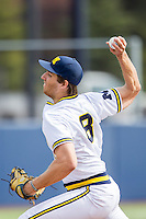 Michigan Wolverines pitcher Ryan Nutof (8) delivers a pitch to the plate against the Toledo Rockets on April 20, 2016 at Ray Fisher Stadium in Ann Arbor, Michigan. Michigan defeated Bowling Green 2-1. (Andrew Woolley/Four Seam Images)