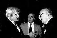 Jean-Roch Boivin (L) and Jean Drapeau (R) attend the Rene Levesque tribute at Montreal's convention centre, October 2nd,1985.<br /> File Photo : Agence Quebec Presse - Pierre Roussel