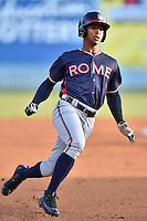 Rome Braves right fielder Ray-Patrick Didder (11) runs to third during a game against the Rome Braves at McCormick Field on April 14, 2016 in Asheville, North Carolina. The Braves defeated the Tourists 4-3. (Tony Farlow/Four Seam Images)