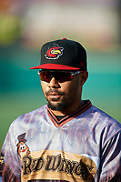 Rochester Red Wings LaMonte Wade (11) before a game against the Lehigh Valley IronPigs on June 29, 2018 at Frontier Field in Rochester, New York.  Lehigh Valley defeated Rochester 2-1.  (Mike Janes/Four Seam Images)