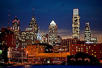Center city Philadelphia and Deleware river at night. Philadelphia, Pennsylvanis, USA