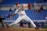 Clearwater Threshers pitcher Jacob Waguespack (49) delivers a pitch during a game against the Dunedin Blue Jays on April 8, 2017 at Florida Auto Exchange Stadium in Dunedin, Florida.  Dunedin defeated Clearwater 12-6.  (Mike Janes/Four Seam Images)
