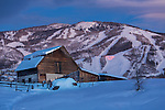 Valentines day torchlight parade and barn at the Steamboat ski resort.