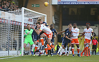 Blackpool's Ben Heneghan flicks the ball on at the near post<br /> <br /> Photographer Rob Newell/CameraSport<br /> <br /> The EFL Sky Bet League One - Southend United v Blackpool - Saturday 17th November 2018 - Roots Hall - Southend<br /> <br /> World Copyright © 2018 CameraSport. All rights reserved. 43 Linden Ave. Countesthorpe. Leicester. England. LE8 5PG - Tel: +44 (0) 116 277 4147 - admin@camerasport.com - www.camerasport.com
